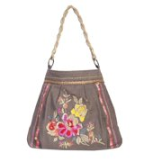 Handbag Womens Canvas Embroidery Braided One Size Taupe C13