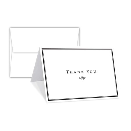 Thank You Card - 25 Sets of 4.5 x 6 Inches Half-Fold Greeting Cards with Envelopes - Elegant Design Blank on The Inside Note Card - for Wedding, Baby Shower, Graduation, Holiday Gift & Any Occasion Wedding Gift Notes