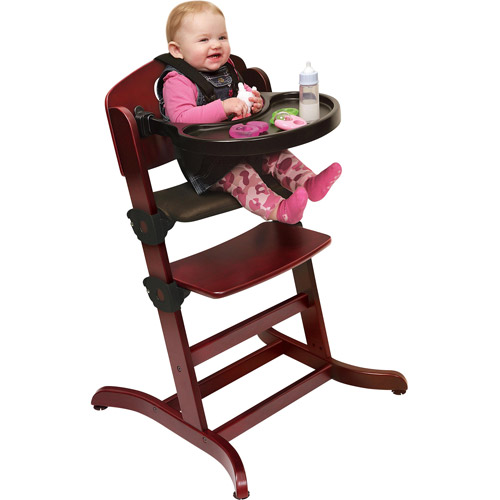 Badger Basket - Evolve Convertible Wood High Chair with Tray and Cushion, Cherry