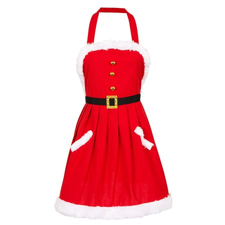Glitzhome Mrs. Clause Red Apron with Plush - Naughty Mrs Clause