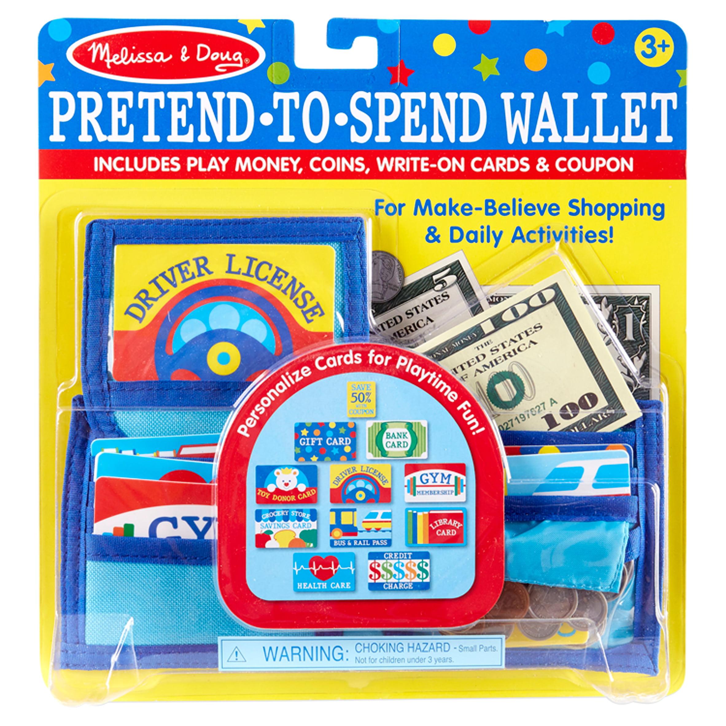 Pretend Spend Folding Wallet 40 Pc Pocket Money Bills Coins Bank Cards License