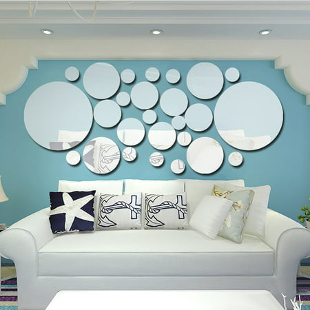 26pcs/set Acrylic Polka Dot Wall Mirror Stickers Room Bedroom Kitchen Bathroom Stick Decal Home Party Decoration Decor Art Mural Stickers DIY Decals Art Decal Room -