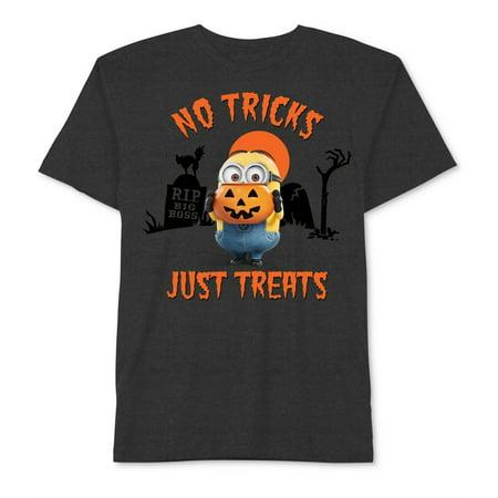 Japan Universal Studio Halloween (Universal Studios Boys No Tricks Halloween Graphic T-Shirt, Grey,)