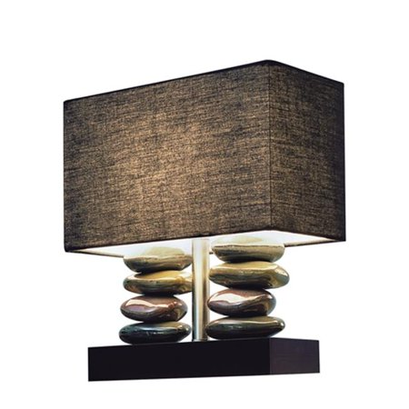 All The RagesLT1036-BLK Rectangular Dual Stacked Stone Ceramic Table Lamp with Black Shade - image 4 of 4