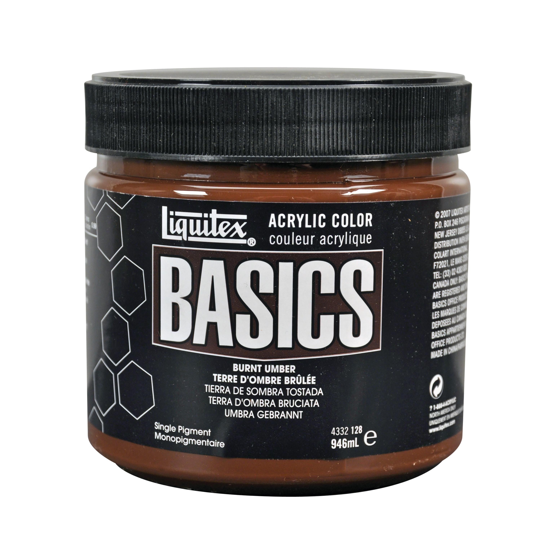 Liquitex BASICS Acrylic Color, 32 oz. Jar, Burnt Umber