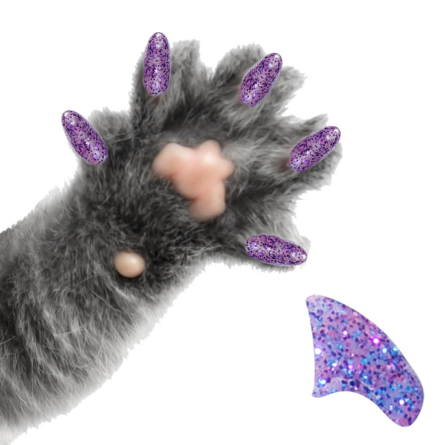 60 Pack Amethyst Glitter Soft Nail Caps for Cats Pretty Claws - Medium