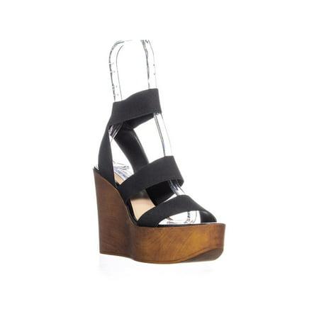 Womens Steve Madden Blondy Wedge Heel Sandals, Black , 9.5 US