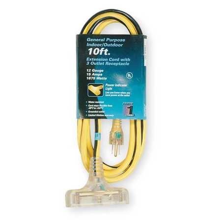 POWER FIRST Extension Cord,10 ft.,12/3 ga. 1FD67