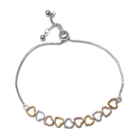 14k Yellow Rose Gold Platinum Plated Stainless Steel Linked Heart Love Valentine Bolo Tennis Bracelet for Women Adjustable Jewelry
