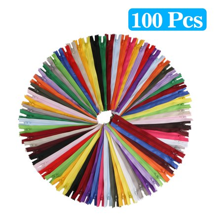 100-pack Colored Nylon Coil Zipper Tailor Sewer Craft 20cm Crafter's DIY 20 Colors for Sewing, Handbag, Purse Making, Clothing, Wholesale - Circular Side Zipper