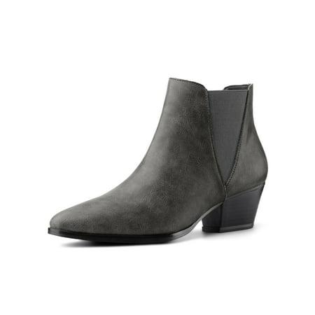 Women's Pointed Toe Block Heel Ankle Chelsea Boots Grey (Size 9) Block Heel Ankle Boots
