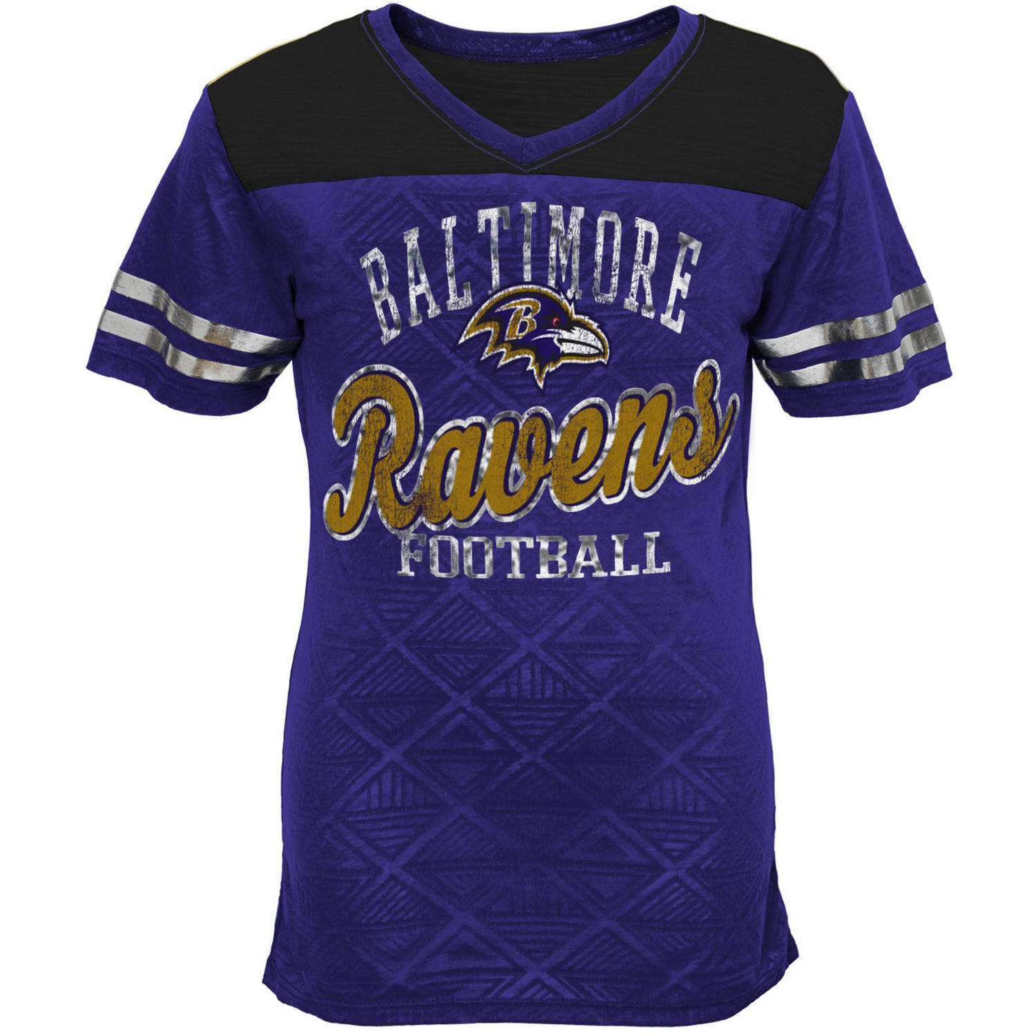 NFL Girls Ravens Short Sleeve Vneck Team Top