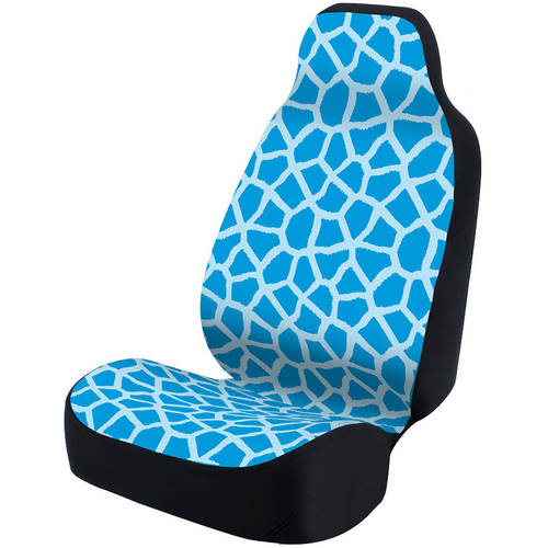 Coverking Universal Seat Cover Fashion Print, Ultra Suede, Giraffe Blue Spots and Blue Background with Black Interlock Backing
