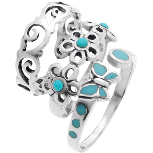 Brinley Co. Sterling Silver Created Turquoise Toe Ring Set
