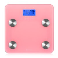 Body Fat Scale,EXCELVAN 400 lb High Precision Body Fat Scale LCD Display Measuring Weight Fat Muscle Bone Water KCAL BMI 6mm Tempered Glass Platform 10 Users Storage,Pink