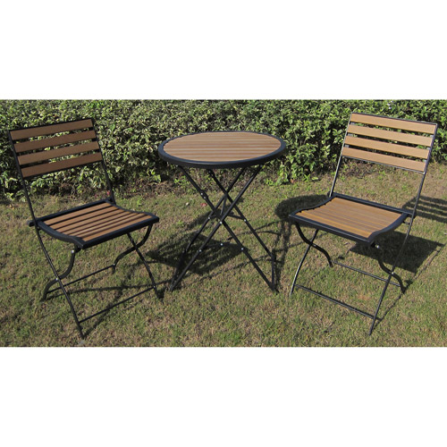 Faux Wood 3-Piece Folding Outdoor Bistro Set, Seats 2