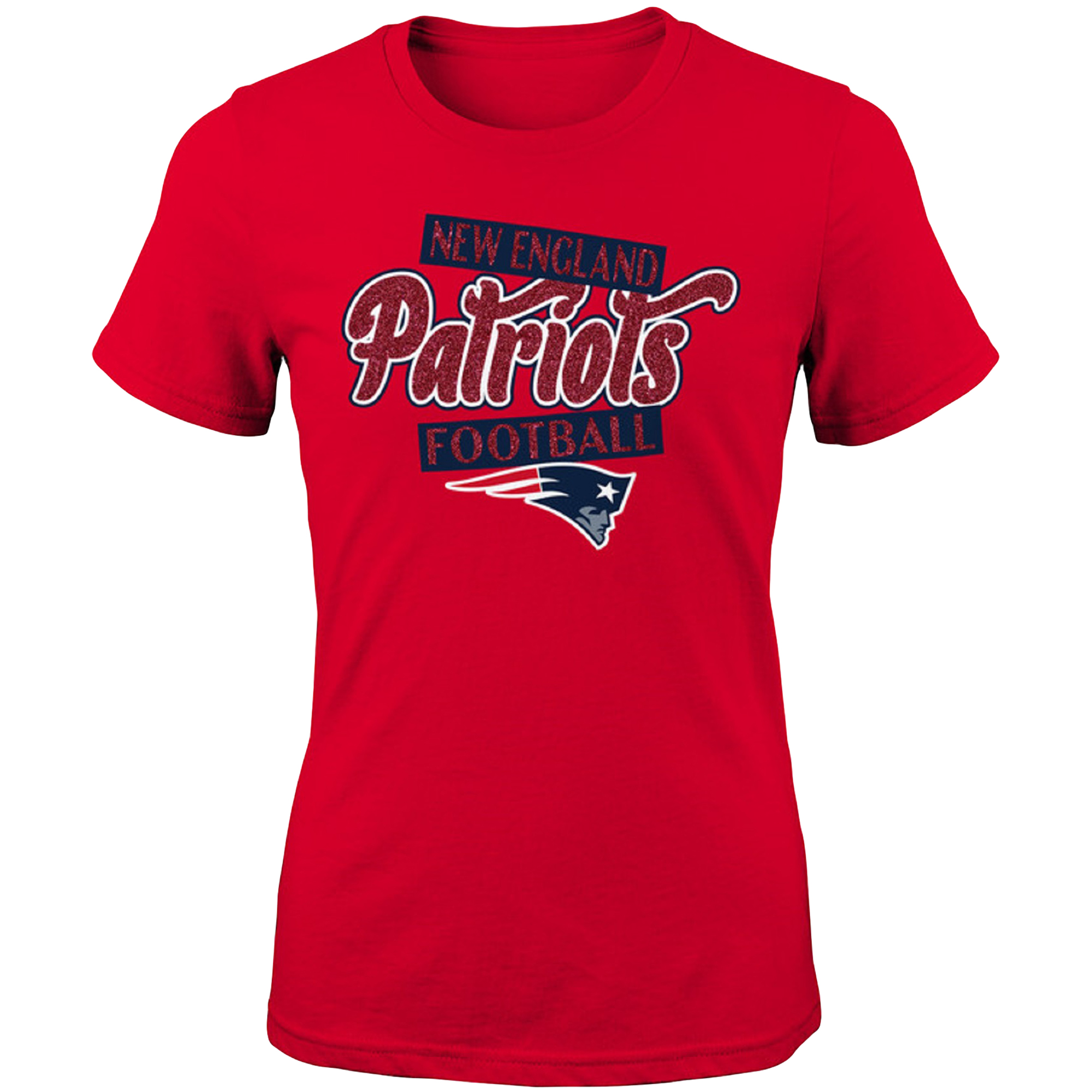 Girls Youth Red New England Patriots Team Glitter T-Shirt