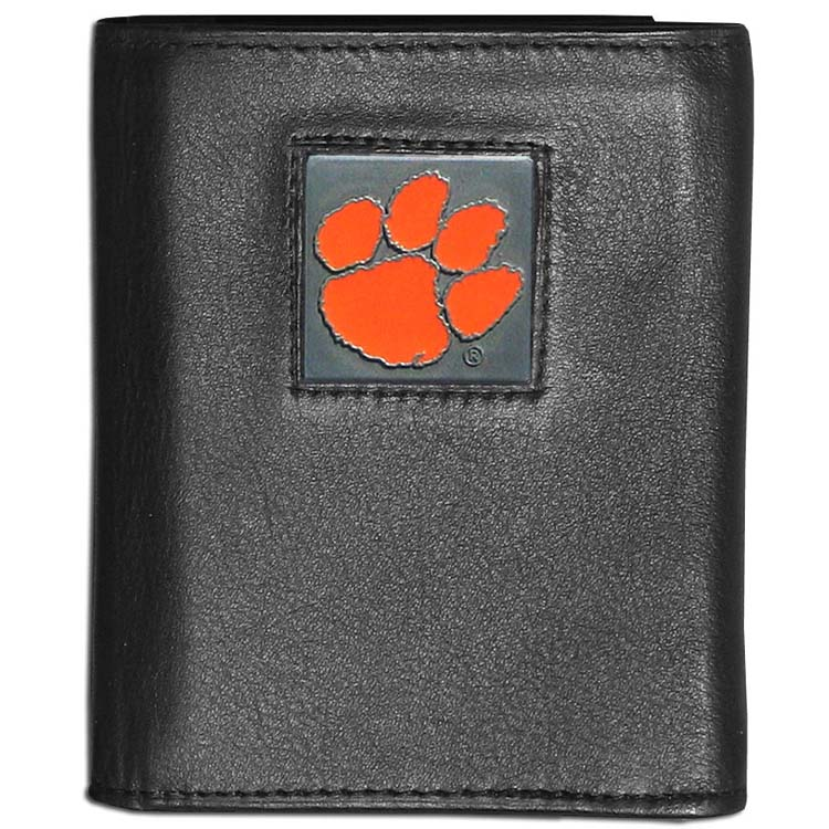 Clemson Tigers Deluxe Leather Tri-fold Wallet Packaged in Gift Box (F)