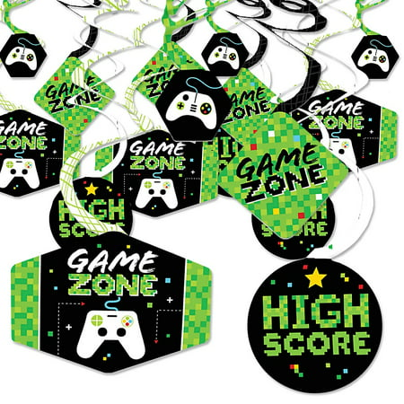 Game Zone - Pixel Video Game Party or Birthday Party Hanging Decor - Party Decoration Swirls - Set of 40](Hunger Games Birthday Decorations)