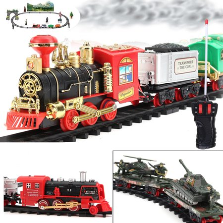 dfdd1a00ee2c M.way Rechargable/Battery Operated Electric Remote Classic Steam Train Set  For Kids With Real Smoke, Music, and Lights Railway RC Car Train Set For ...