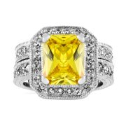 Emitations Sterling Silver Cushion Cut Citron Antique Wedding Ring Set