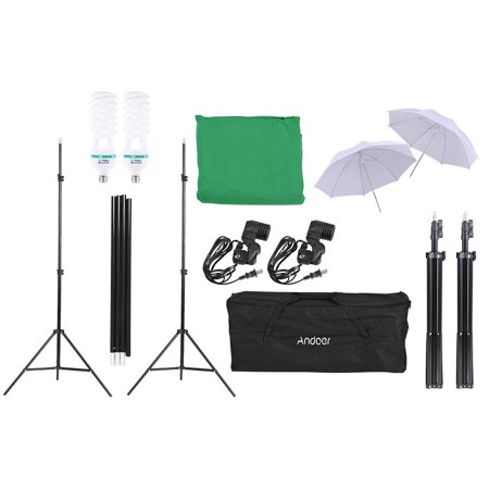 "Andoer Photography Kit 2 * Backdrop Stand 1.8 * 2.7m Green Muslin Backdrop 2Pcs 135W 5500K White Daylight Light Bulbs with 2 Swivel sockets 2Pcs 33"" White Soft Light Umbrella 2Pcs Light Stand for Pho - image 5 de 7"