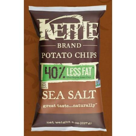 Kettle Brand Sea Salt Potato Chips, 8 oz, (Pack of 12) No Salt Potato Chips