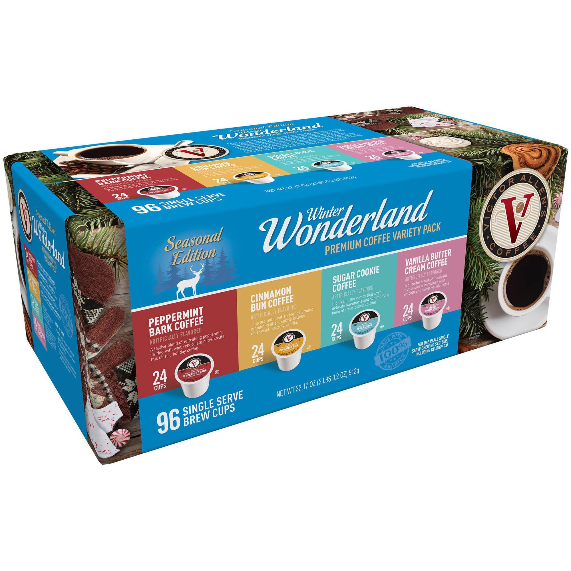 Victor Allen's Seasonal Edition Winter Wonderland Premium Coffee Variety Pack Single Serve Brew Cups, 96 count