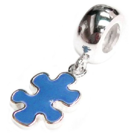 Queenberry Sterling Silver Autism Puzzle Blue Enamel Awareness European Style Dangle Bead Charm Fits Pandora