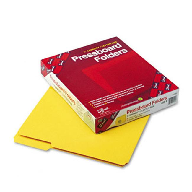 Smead 21562 Recycled Pressboard Folders  1 in.Expansion  1/3 Cut  Top Tab  Letter  YW  25/Bx - image 1 of 1