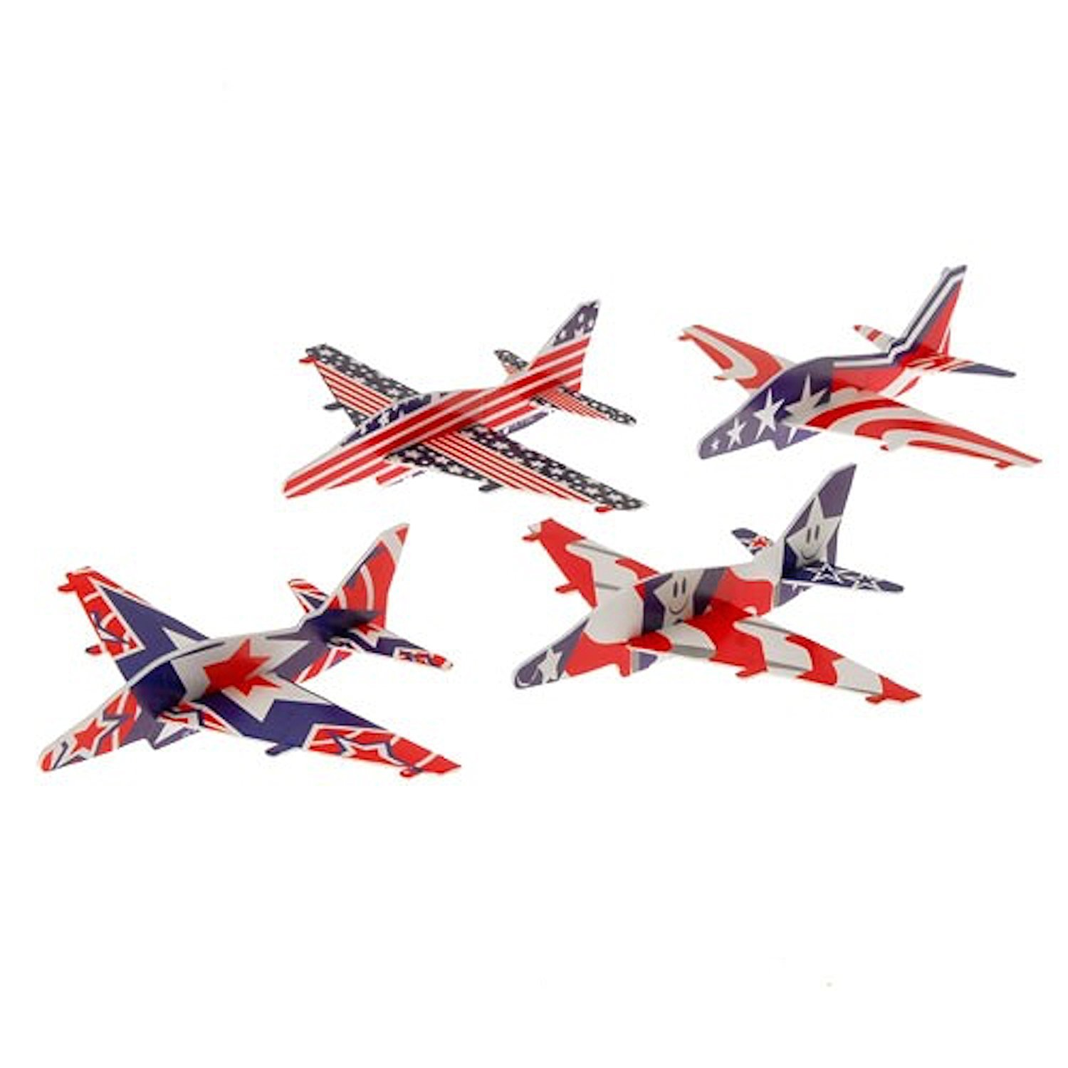 Lot Of 12 Assorted Patriotic Theme Holographic Plane Glider Toys, Lot Of 12 By US Toy by