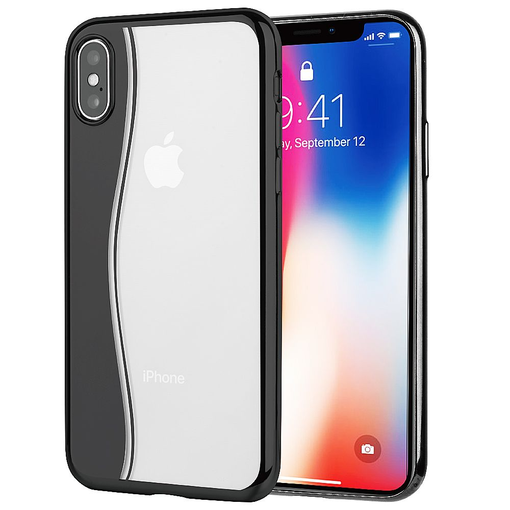 iPhone X Case iPhone 10 Case by Insten Skyfall TPU Rubber Transparent Back Cover Case with electroplated bumper For Apple iPhone X - Clear/Black (Combo with Glass Screen Protector) - image 3 de 3