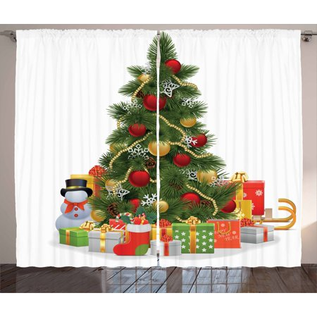 Christmas Curtains 2 Panels Set, Xmas Tree with Vivid Balls and Snowflakes New Year Celebration Theme Art, Window Drapes for Living Room Bedroom, 108W X 96L Inches, Red Green Yellow, by Ambesonne - Green And Yellow Theme