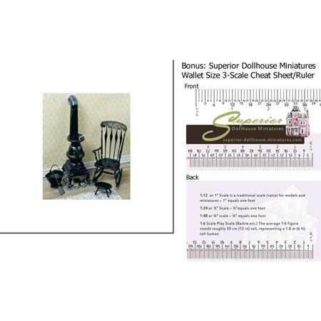 Dollhouse Miniature Pot Belly Stove Kit, Black w/3-Scale Wallet Ruler