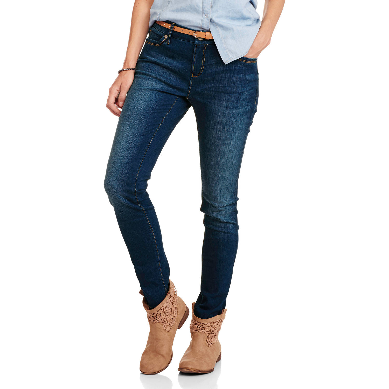 Faded Glory Women's Super Stretch Skinny Core Denim available in Regular and Petite