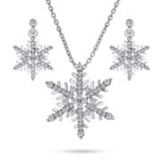 Holiday Party Frozen Winter Christmas Crystal White Snowflake Pendant Necklace Earring Jewelry Set for Women for Teen Silver Plated