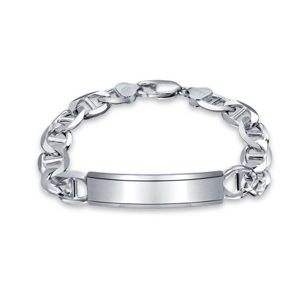 Mens Mariner Anchor Link ID Bracelet Engravable 250 Gauge Heavy Polished 925 Sterling Silver Made In Italy