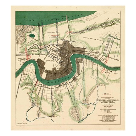 1863, New Orleans City Approaches, Louisiana, United States Print Wall - Party City New Orleans