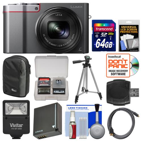 Panasonic Lumix DMC-ZS100 4K Wi-Fi Digital Camera (Silver) with 64GB Card + Case + Flash + Battery + Tripod + Kit