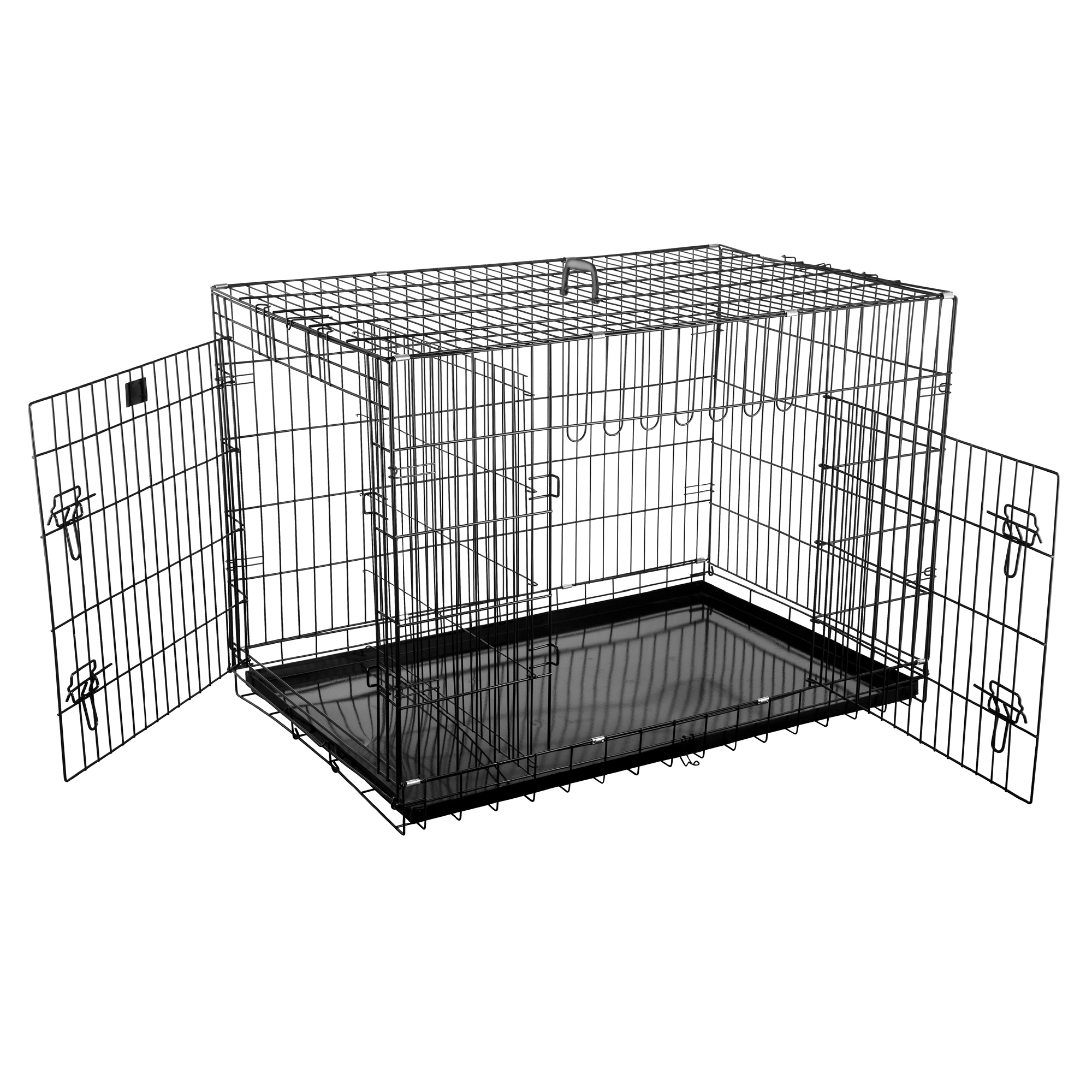 "Pet Trex Premium Quality 42"" Folding Pet Crate Kennel Wire Cage for Dogs Cats or Rabbits"