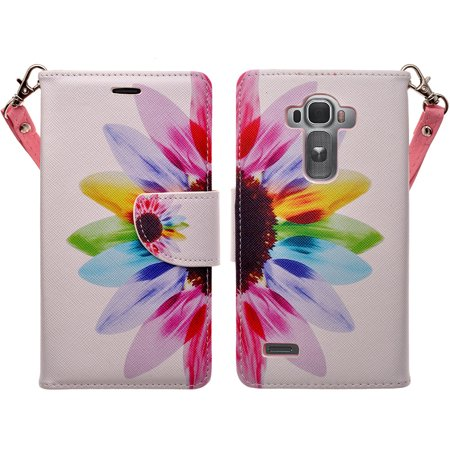 LG G4 Cases, Wrist Strap Magnetic Flip Folio [Kickstand Feature] Pu Leather Wallet Case with ID & Credit Card Slot - Vivid