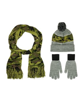 Berkshire Fashions Men's Cold Weather Hat, Glove, Scarf 3 Piece Gift Set