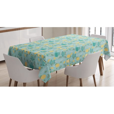 Lemons Tablecloth, Piping Hot Cup of Tea and Teapot Sprouts among Full and Half Citruses, Rectangular Table Cover for Dining Room Kitchen, 52 X 70 Inches, Teal Cream Baby Blue, by (Babies R Us Registry Canada Full Site)