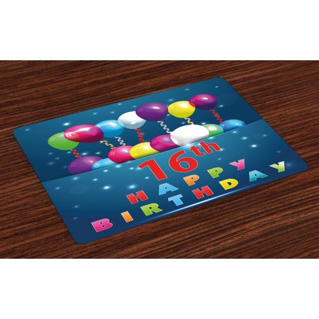 16th Birthday Placemats Set of 4 Sweet Sixteen Theme Teenage Design Party Balloons Kitsch Celebration Image, Washable Fabric Place Mats for Dining Room Kitchen Table Decor,Multicolor, by Ambesonne](Spring Themed Sweet 16)