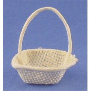 Dollhouse White Square Basket W/Handle