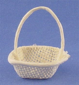 Dollhouse White Square Basket W/Handle