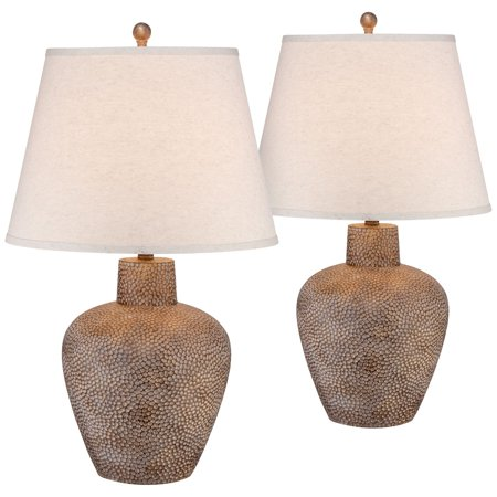 Franklin Iron Works Rustic Table Lamps Set of 2 Hammered Pot Washed Brown Off White Empire Shade for Living Room Family Bedroom