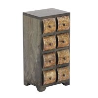 Rustic Mango Wood Curved Square Paneled 8-Drawer Vertical Jewelry Chest, Dark Brown