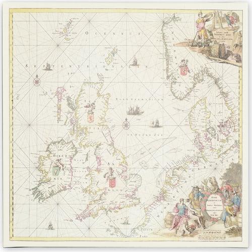 Trademark Art 'Map of the North Sea, 1675' Canvas Art by Fredrick de Wit