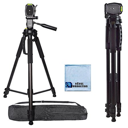 72 Inch Elite Series Professional, Full Size Camera Tripod for Canon, Nikon, Sony, Samsung, Olympus, Panasonic & Pentax + eCostConnection Microfiber Cloth (Tripod For Camera Sony)
